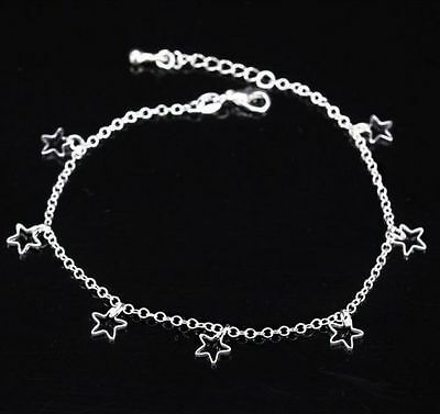 Star 925 Silver Anklet Beautiful Ankle New Bracelet Chain UK Seller