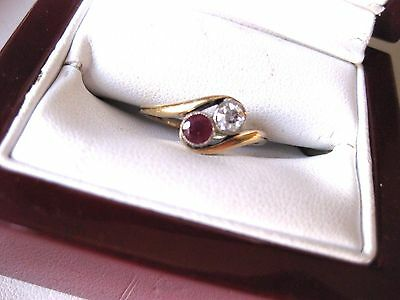 """ANTIQUE VICTORIAN 18K YELLOW GOLD """"BYPASS"""" RING with FINE DIAMOND & NATURAL RUBY"""