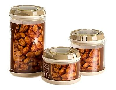 Canisters Containers Jars Leakproof Lid 3 PCS Food Storage Set Airtight Sealed