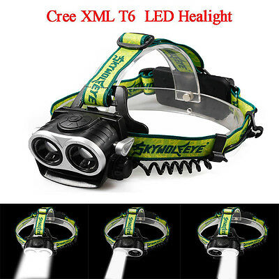 2 XM-L T6 CREE 3-Mode 12000 Lumens Waterproof Hunting Camping Zoomable Headlamp