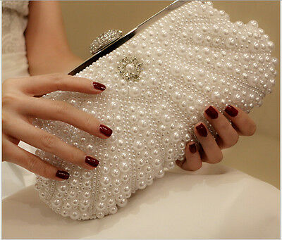 Bridal Pageant Evening Handbags Pearls Women Clutch White Party Bags Prom Purse