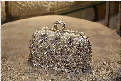 Wedding Bridal Crystal Handbags Pearls Luxury Clutch Purse Evening Pageant Party