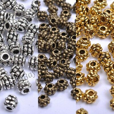 100/1000Pcs Gold & Silver&Bronze PLATED Tube Space Beads 4x4mm  -  DB1028