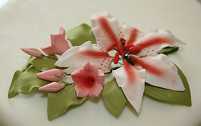 Sugar Flower Spray, Medium, Pink Rubrum Lily, Cake Topper, Wedding, Decoration