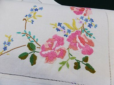 Vintage Irish Cream Linen Traycloth Hand Embroidered Beautiful Roses & Viola's