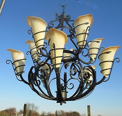 Gorgeous Hand Forged Wrought Cast iron  Castle Chandelier Impressive 10 Lights