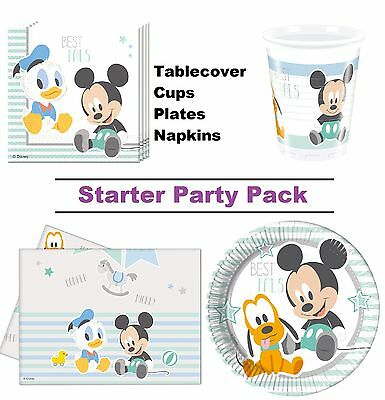 Mickey Mouse Baby Boy 8-48 Guest Starter Party Pack | Cups | Plates | Napkins