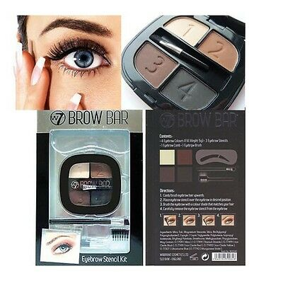 W7 Brow Bar Eyebrow Stencil Kit Includes Powder, Comb and Brush # BRAND NEW