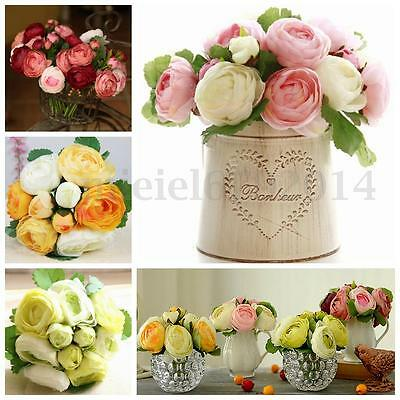 1 Bouquet 9 Heads Artificial Peony Silk Flowers Bridal Hydrangea Wedding Decor