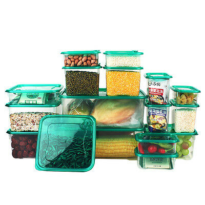 17 Pieces Set Kitchen Storage Boxes Plastic Food Storage Containers with Lids