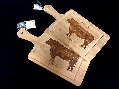 2 x Bamboo Wooden Paddle Serving Borad Cutting Chopping Board Platter 40 x 17cm