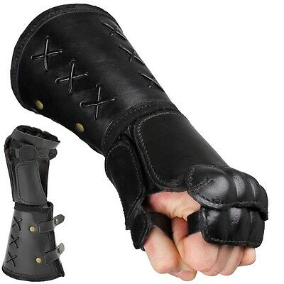 Quality Leather Gauntlet - Left Hand - Black. Stage Costume & LARP