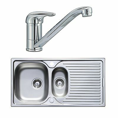 Astracast 965 x 500mm Stainless Steel 1.5 Bowl Kitchen Sink + Wastes + Tap Pack