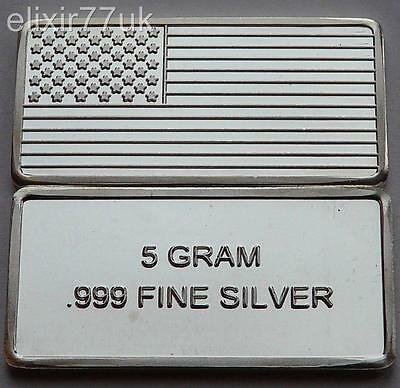 5 Gram Pure 999 Fine Solid Silver American Flag Bullion Art Bar Ingot Gift Uk