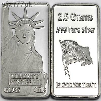 2.5 Gram Pure Fine 999 Solid Silver American Liberty Bullion Art Bar Ingot Uk