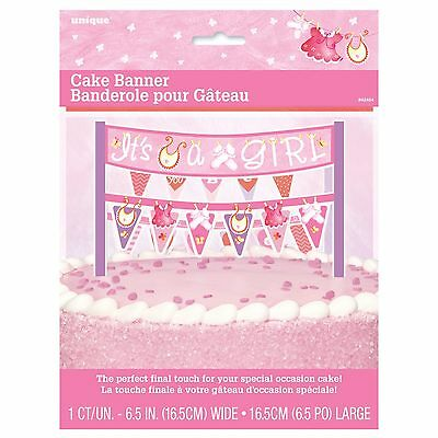 PINK CLOTHESLINE - Cake Banner, Baby Shower Party Girl, Decorations Supplie