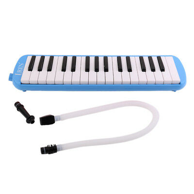 Classic 32 Keys Melodica With Tube Mouthpiece Carry Bag Set Blow Organ Blue