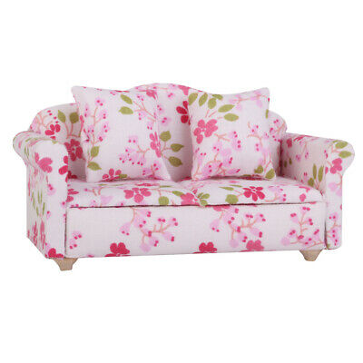 Dolls House Miniature Living Room Lounge Furniture Floral Sofa Couch Settee