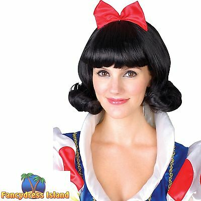 FAIRYTALE & STORYBOOK SNOW WHITE WIG Adults Ladies Womens Fancy Dress Costume
