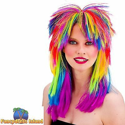 80s RAINBOW POP CRAZY FRINGED WIG FESTIVALS womens ladies fancy dress costume