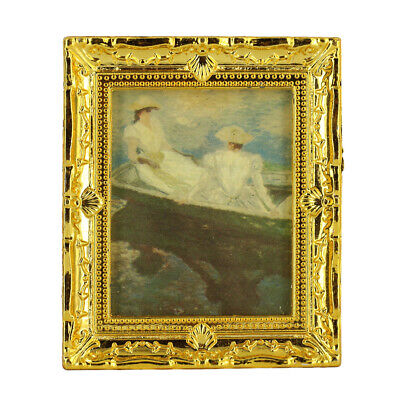 Dolls House Miniature Framed Lady Boating on Lake Wall Paintings 1/12 Scale
