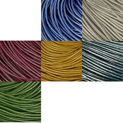 2 M Of Round Leather Cord,choose Colour,1.5Mm Thickness,stringing