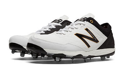 New Balance Baseball Cleats White Black Grey Mens Minimus Low-Cut Metal Cleats