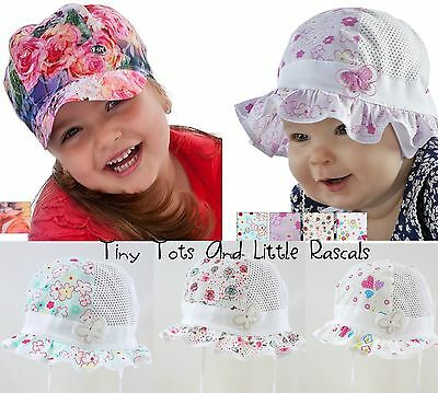 Baby Girls Kids Summer Hat Bonnet Holiday Beach Cap Occasion Sizes 0 - 6 years