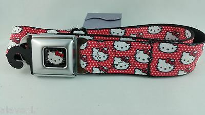 "Adjustable Hello Kitty Belt With ""buckle Down"" Closure Red Polka Dot 38 Inches"
