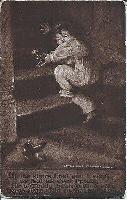 Vintage Sheahan's Humorous Novelties Postcard - Young Child Crawling Up Stairs