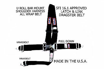 Rjs Sfi 16.1 Latch & Link Harness Dragster U Wrap Roll Bar 5 Point Black 1125601