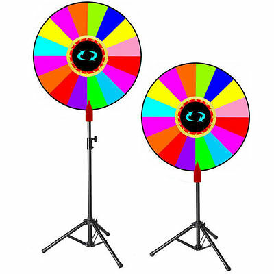 "24"" Editable Prize Wheel of Fortune Stand Tripod Spin Game Tradeshow Carnival"