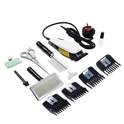 White Professional Electric Pet Dog Grooming Kit Animal Hair Trimmer Clipper UK