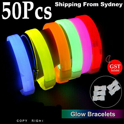 New 50X Mixed Colour Glow Sticks Bracelets Light Party Glowsticks in the Dark