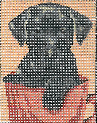 CUTE BLACK LABRADOR DOG tapestry  20X25CM CANVAS ONLY OR KIT - YOUR CHOICE!