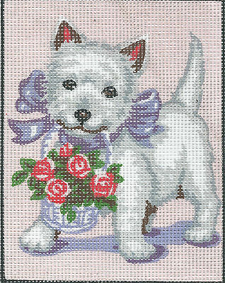 CUTE WHITE TERRIER DOG tapestry  20 X 25CM CANVAS ONLY OR KIT - YOUR CHOICE!