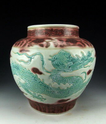 China Antiques Red-Underglazed Porcelain Pot With Green Dragon