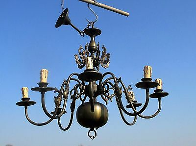 Vintage Ornate Flemish Dutch 8 Arms Chandelier Lights Mermaids Fish