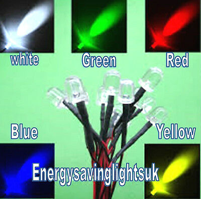 9V-12V-LED-5mm-Pre-Wired-Prewired-Ultra-Bright-Col white green red blue yellow