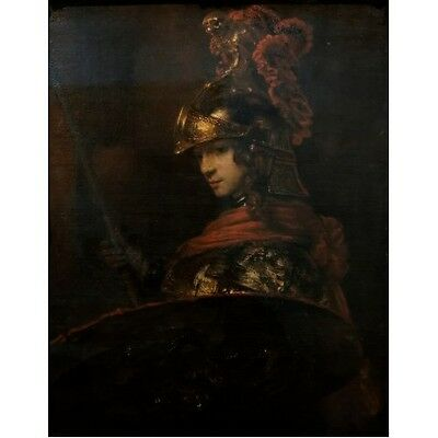 1655 Rembrandt Pallas Athena Minerva Female Warrior Painting Dutch Art Poster