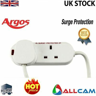 Argos 2 Way 0.75M Extension Lead Surge Protection - White w/Neon Indicator,Fused