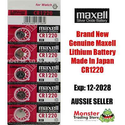 5 Pcs Maxell Cr1220 3V Lithium Button Coin Battery Made In Japan For Watch New