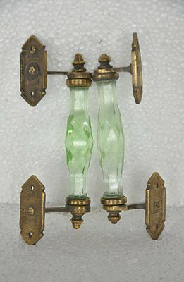 Vintage Green Brass & Glass Unique Fine Cut Work Handcrafted Door Handle