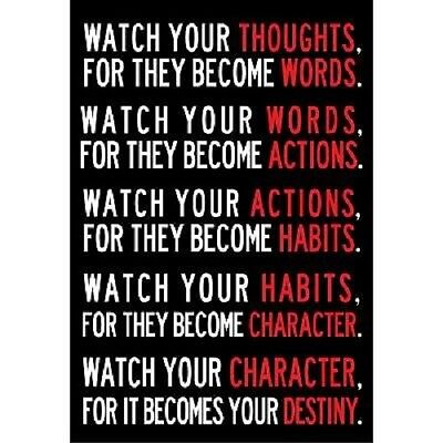 Watch Your Thoughts Motivational Poster (13x19) Print Wall Art Home Decor Quotes