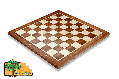 MAHOGANY CHESS BOARD No.5 With Notation - 48cm / 18.9in Professional Wooden