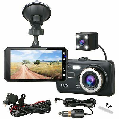 "4"" Dual Lens 1080P HD Car DVR Rearview Video Dash Cam Recorder Camera"