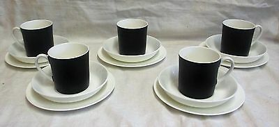 5 1960's Wedgwood Susie Cooper Contrast Black & White Cups,Saucers & Side Plates