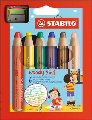 STABILO Multi. stift woody 3 in 1 Buntstift/Wachsmalkreide/Wassermalfarbe, 6er