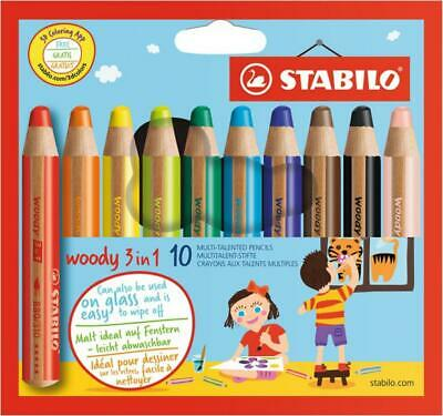 STABILO Multi. stift woody 3 in 1 Buntstift/Wachsmalkreide/Wassermalfarbe, 10er