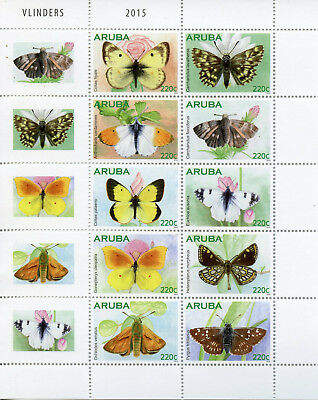 Aruba 2015 MNH Butterflies 10v Block Set Insects Moths Vlinders Stamps